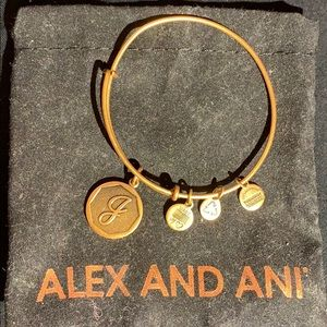 "Alex and Ani ""J"" initial gold bracelet"